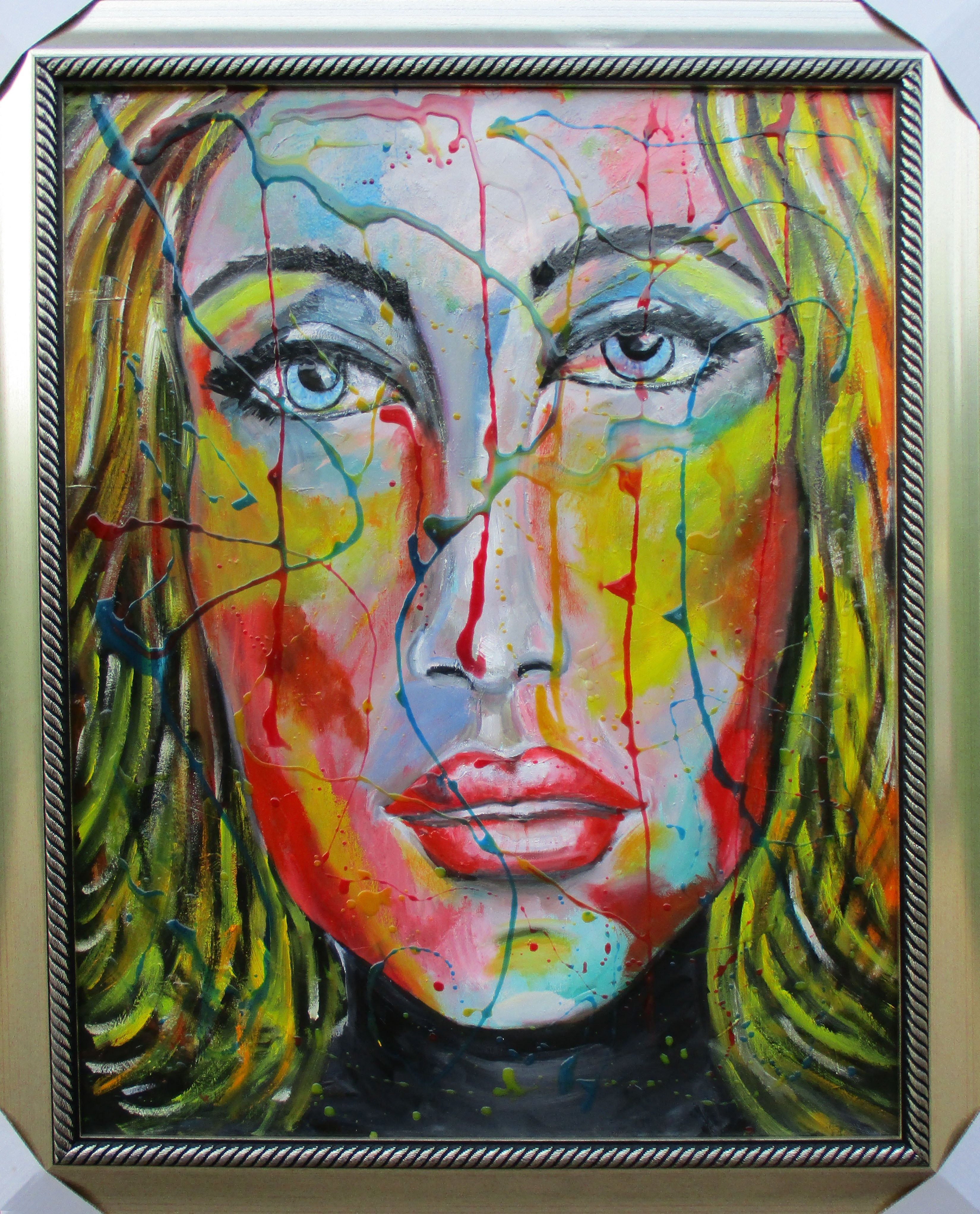 Colourful lady with frame
